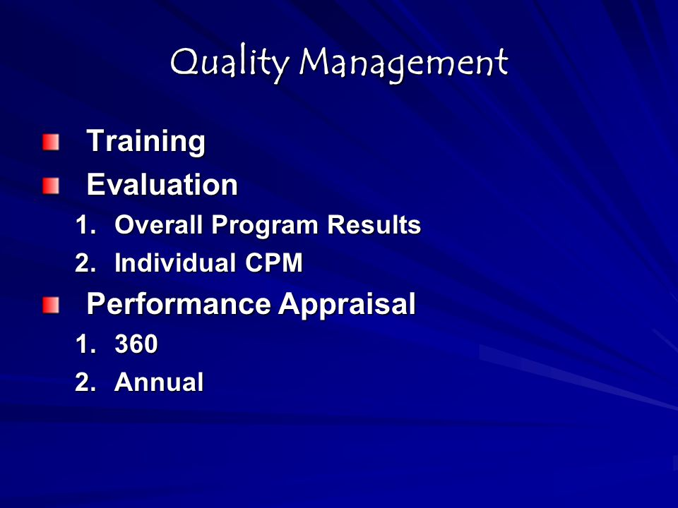 Quality Management Training Evaluation Performance Appraisal