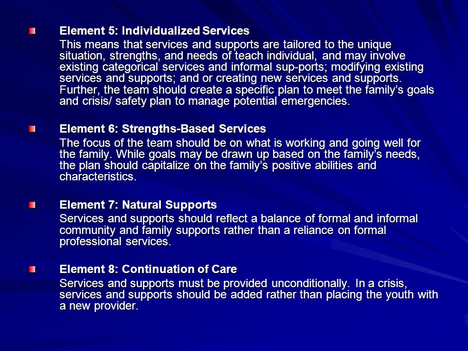 Element 5: Individualized Services