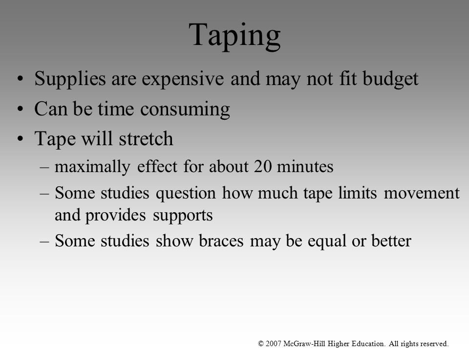 Taping Supplies are expensive and may not fit budget