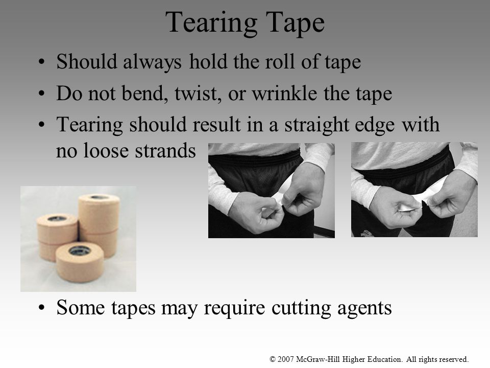 Tearing Tape Should always hold the roll of tape