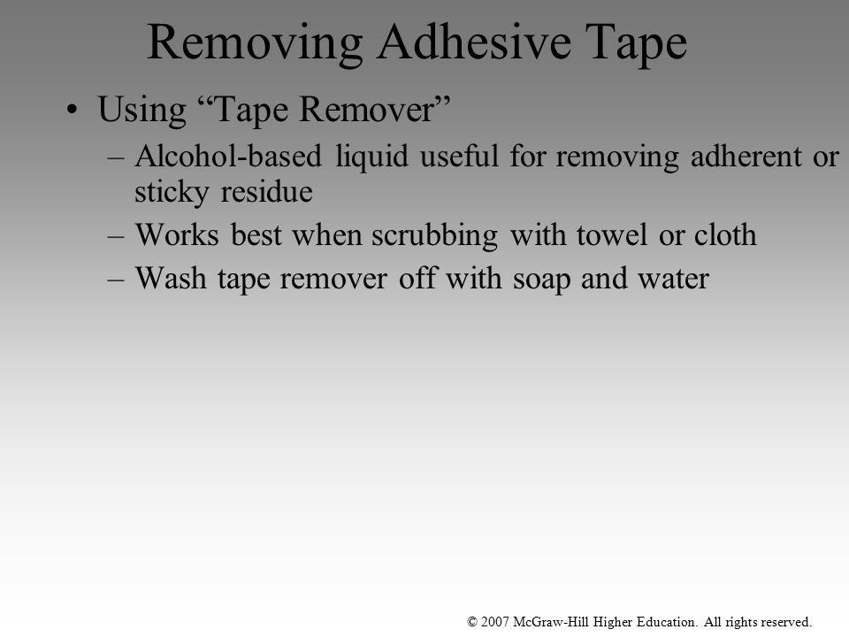 Removing Adhesive Tape