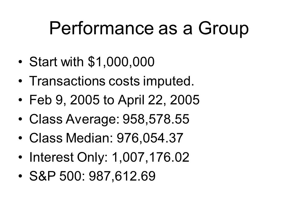 Performance as a Group Start with $1,000,000