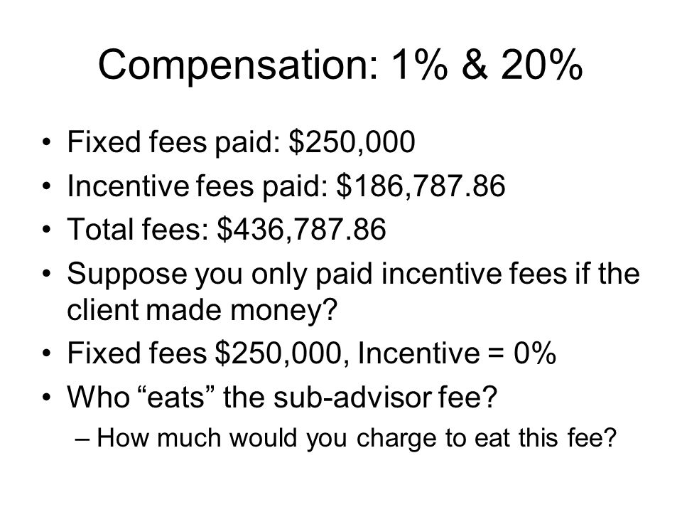 Compensation: 1% & 20% Fixed fees paid: $250,000