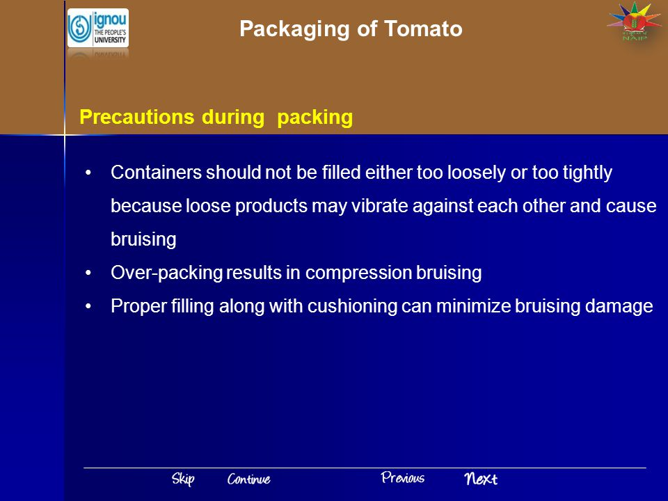 Packaging of Tomato Precautions during packing