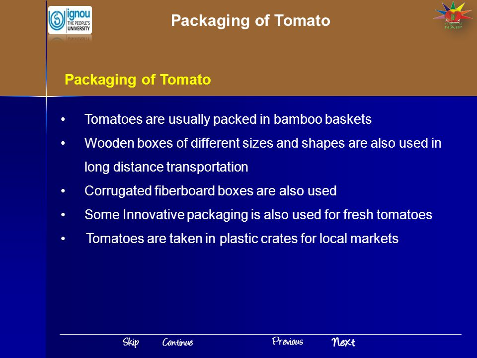 Packaging of Tomato Packaging of Tomato