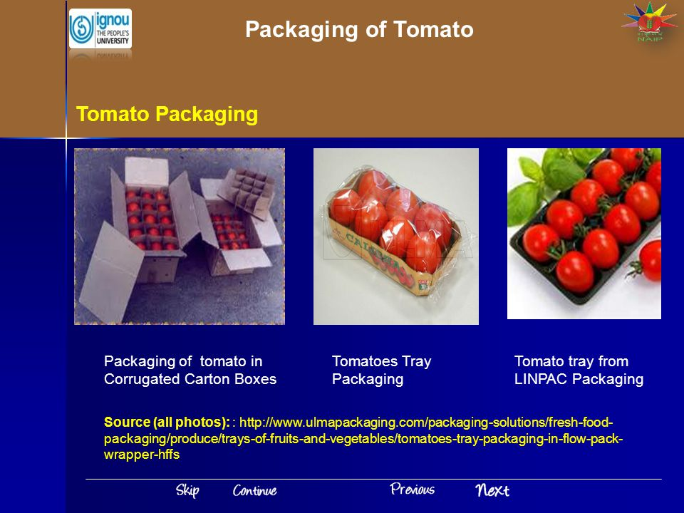 Packaging of Tomato Tomato Packaging