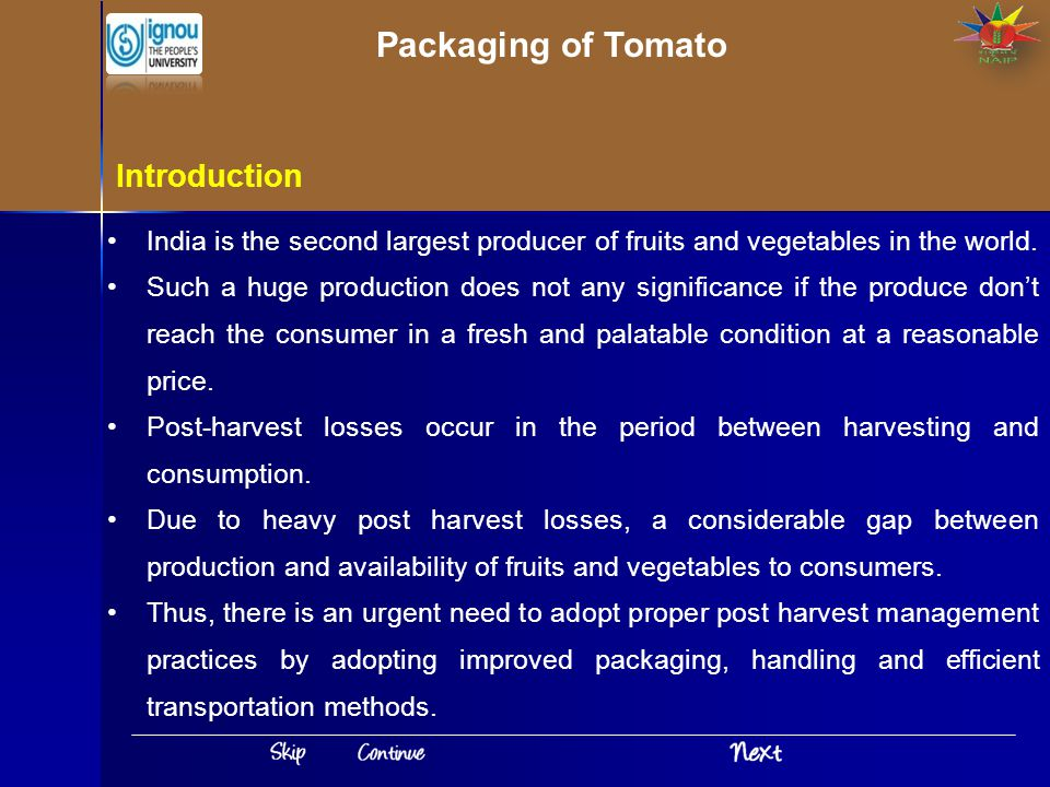 Packaging of Tomato Introduction