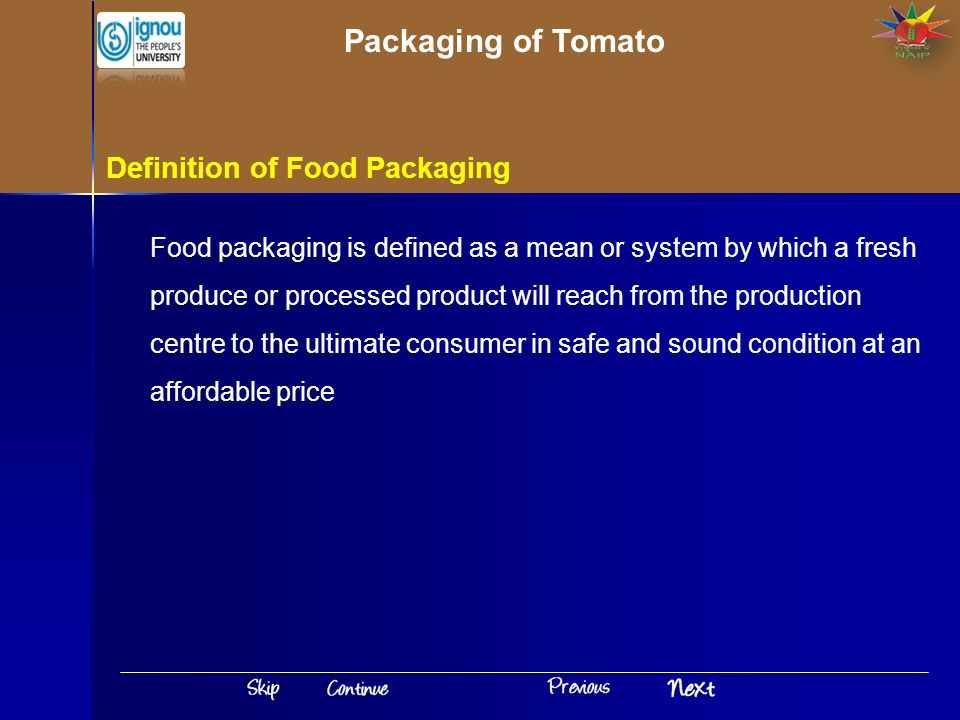 Packaging of Tomato Definition of Food Packaging