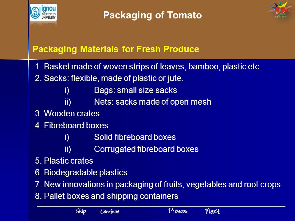 Packaging of Tomato Packaging Materials for Fresh Produce