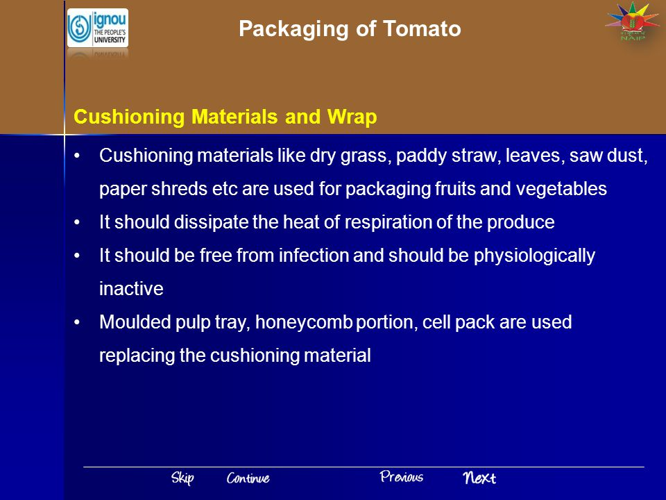 Packaging of Tomato Cushioning Materials and Wrap