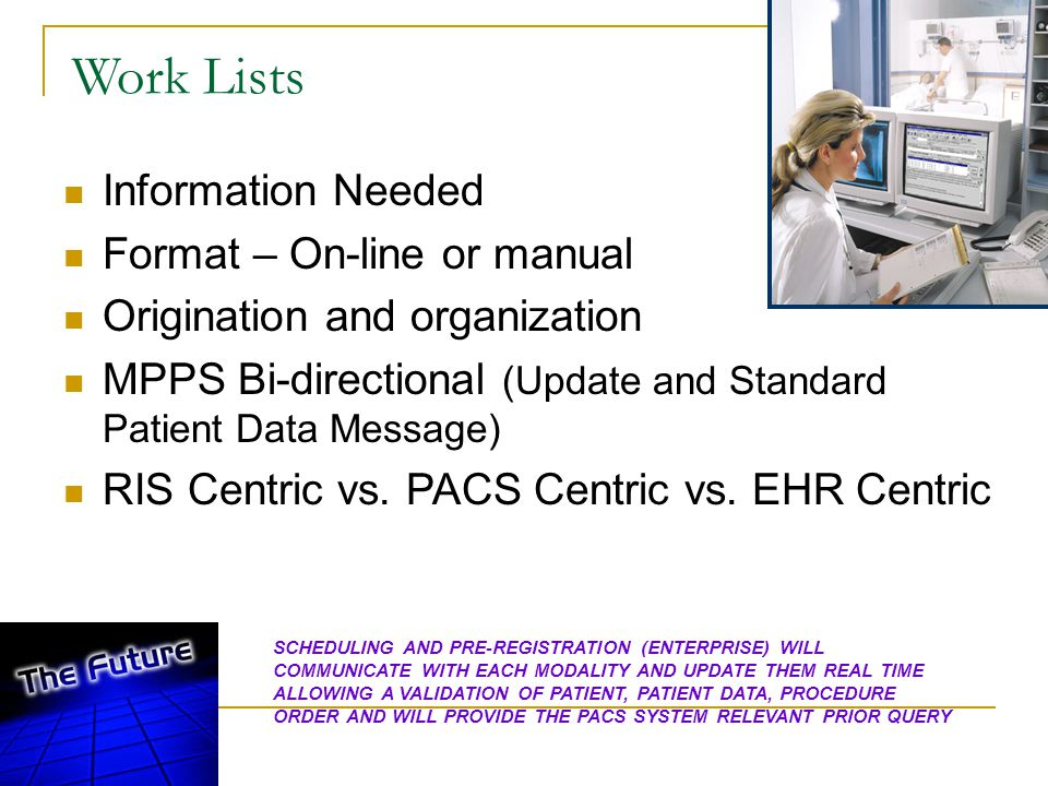 Work Lists Information Needed Format – On-line or manual