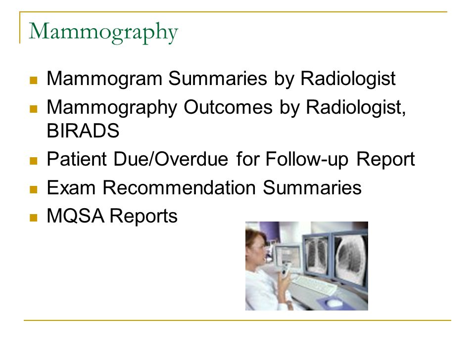Mammography Mammogram Summaries by Radiologist