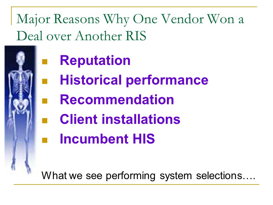 Major Reasons Why One Vendor Won a Deal over Another RIS