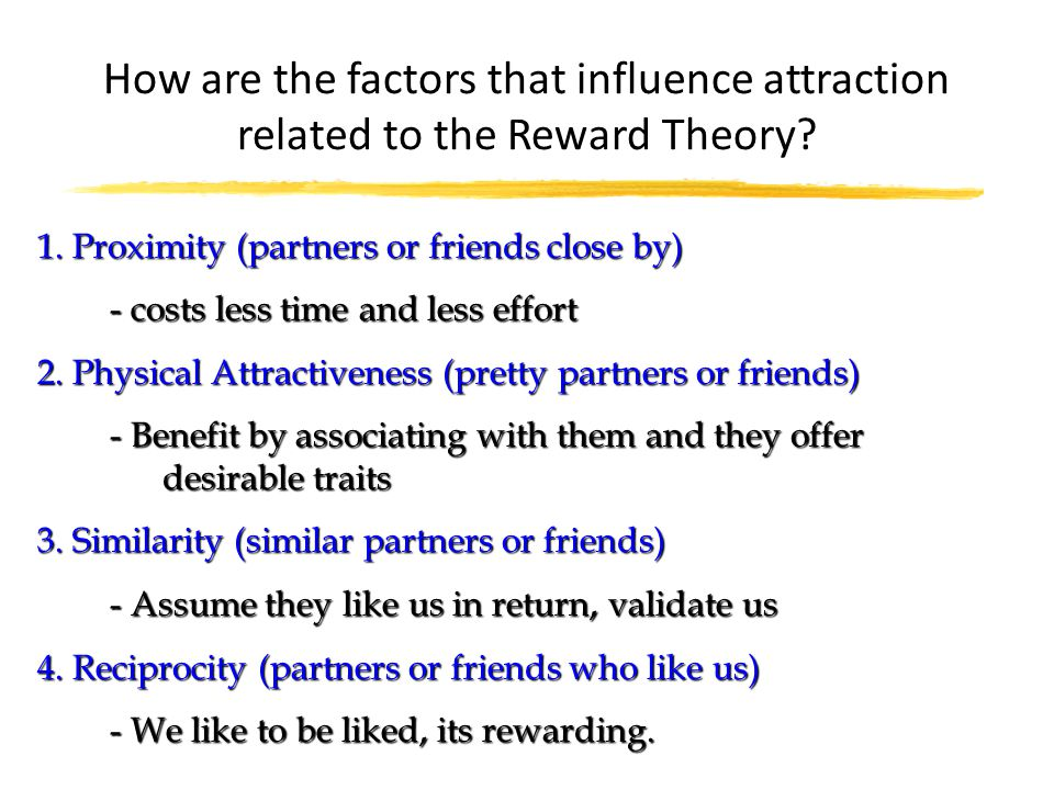 How are the factors that influence attraction related to the Reward Theory
