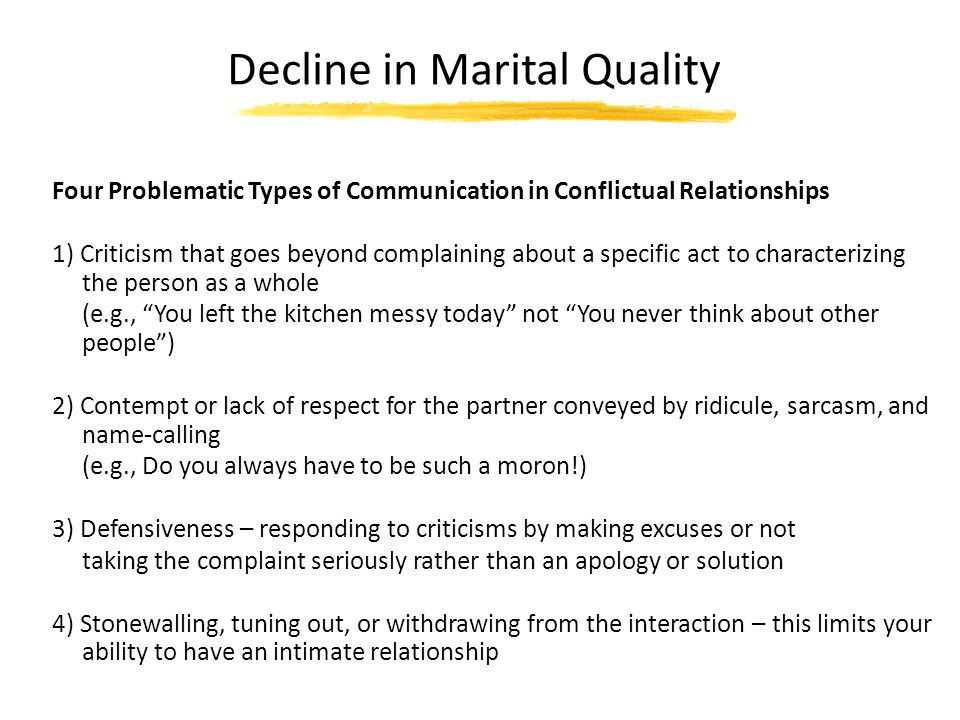 Decline in Marital Quality