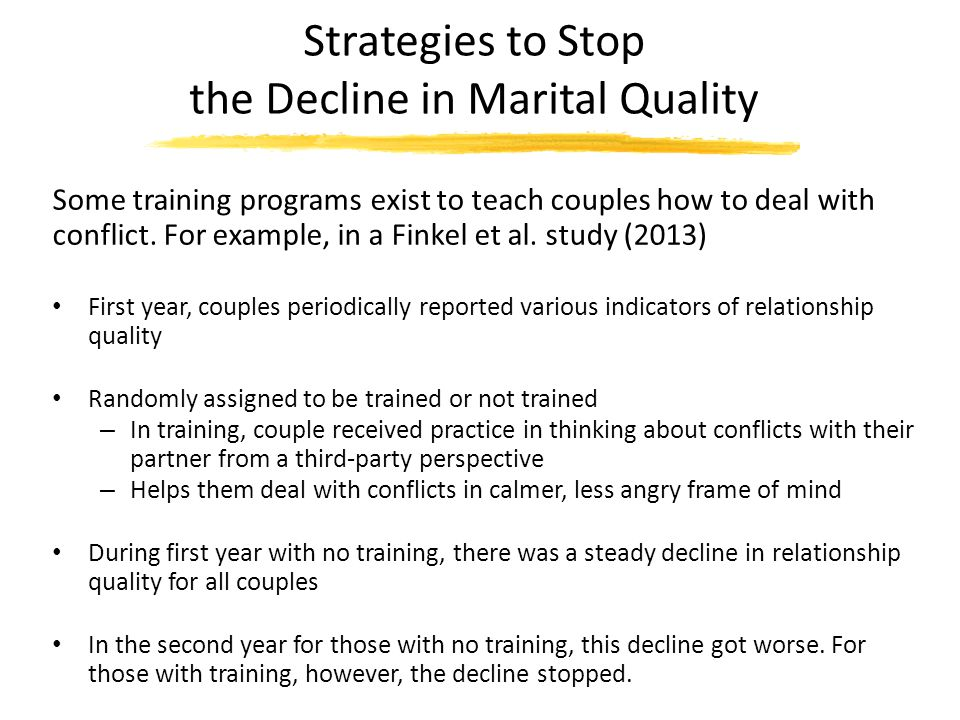 Strategies to Stop the Decline in Marital Quality