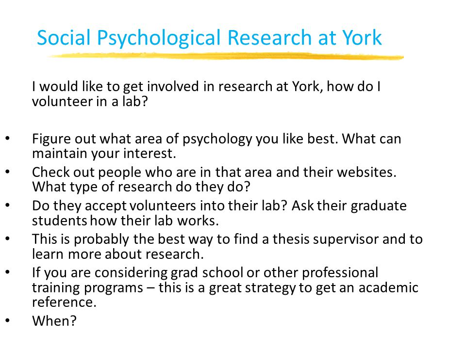 Social Psychological Research at York
