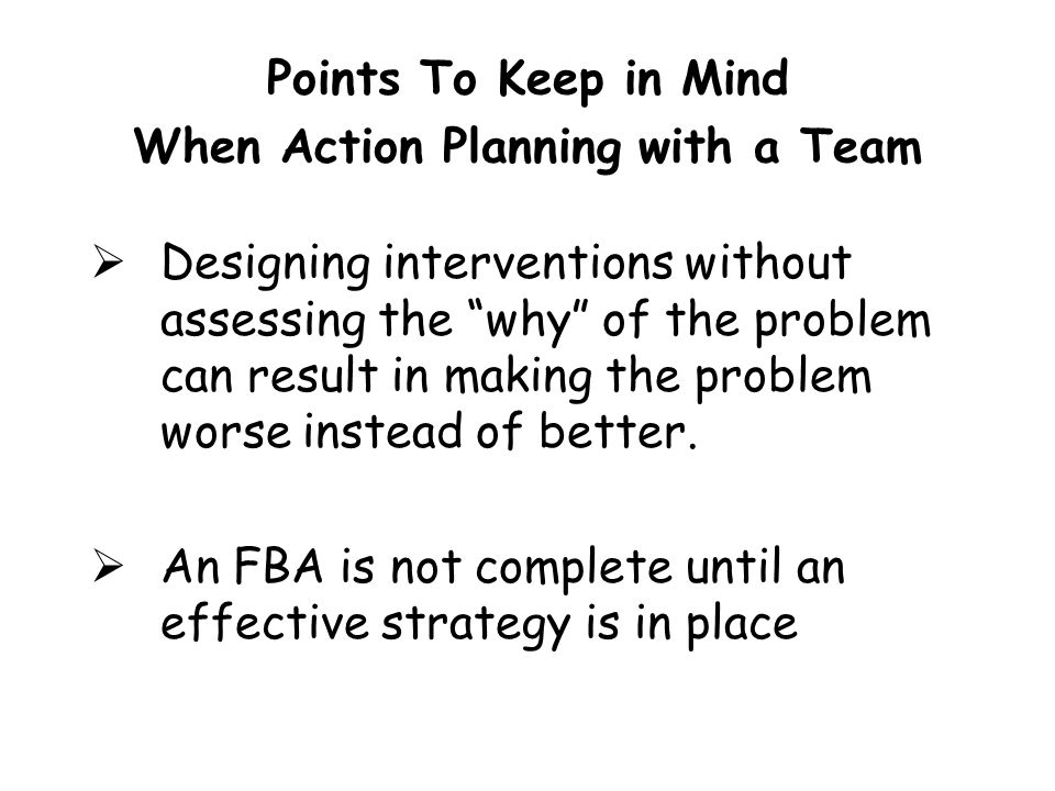 Points To Keep in Mind When Action Planning with a Team