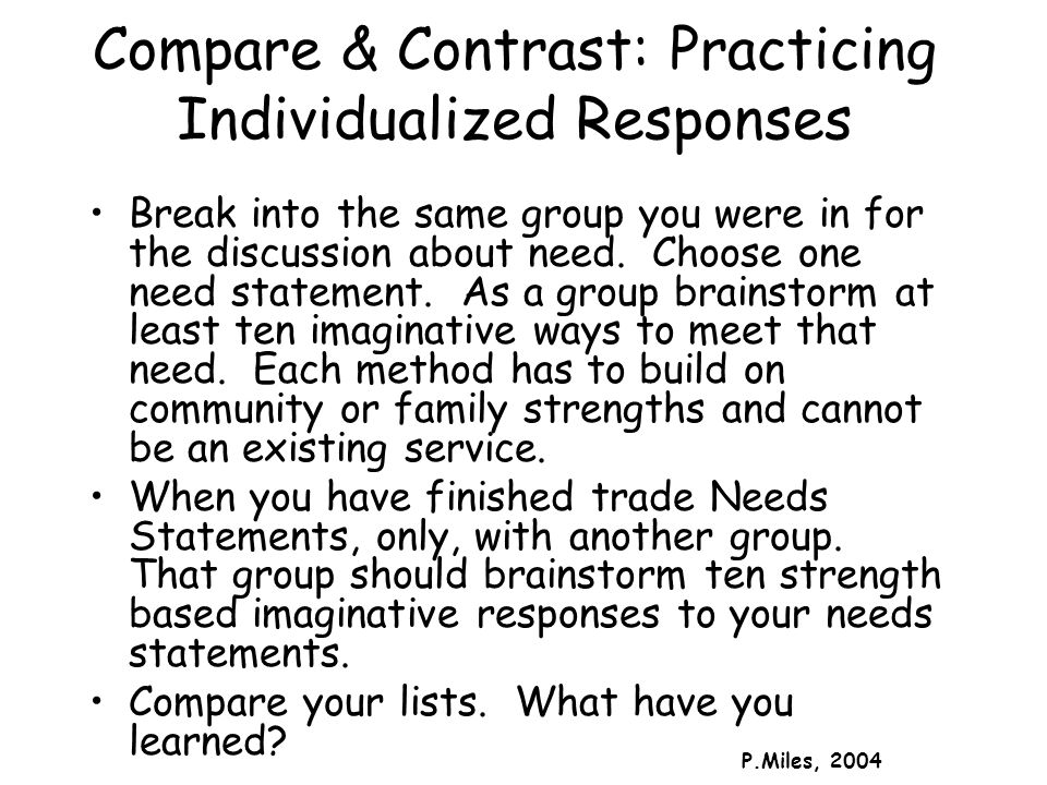 Compare & Contrast: Practicing Individualized Responses