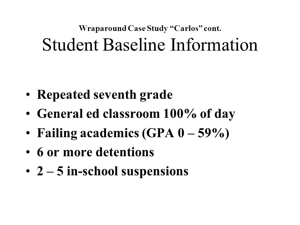 Wraparound Case Study Carlos cont. Student Baseline Information