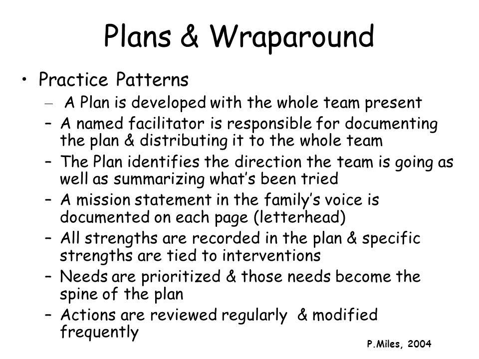 Plans & Wraparound Practice Patterns