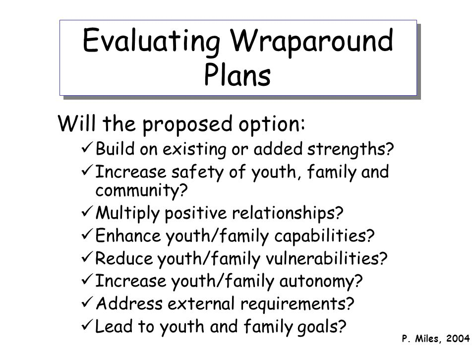 Evaluating Wraparound Plans