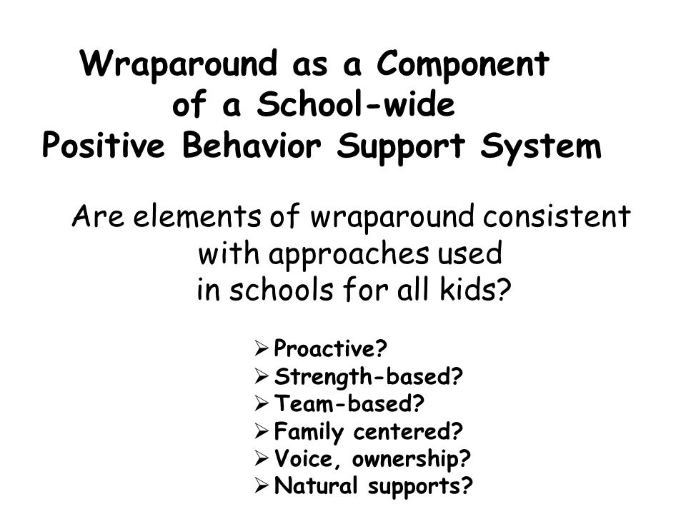 Wraparound as a Component Positive Behavior Support System