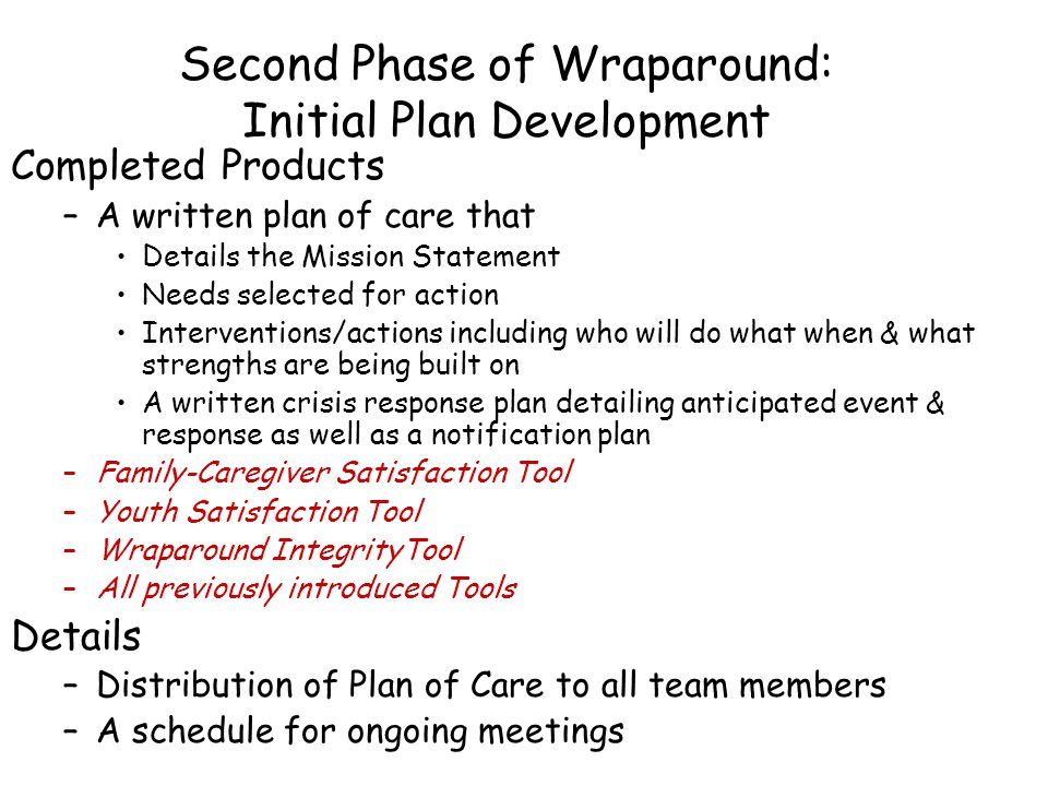 Second Phase of Wraparound: Initial Plan Development