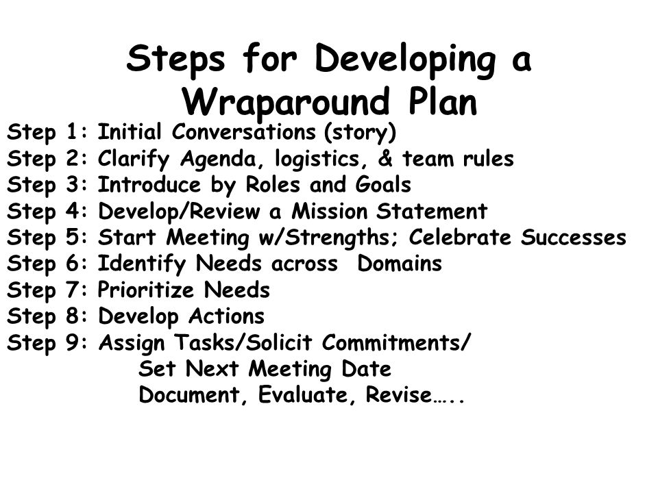 Steps for Developing a Wraparound Plan