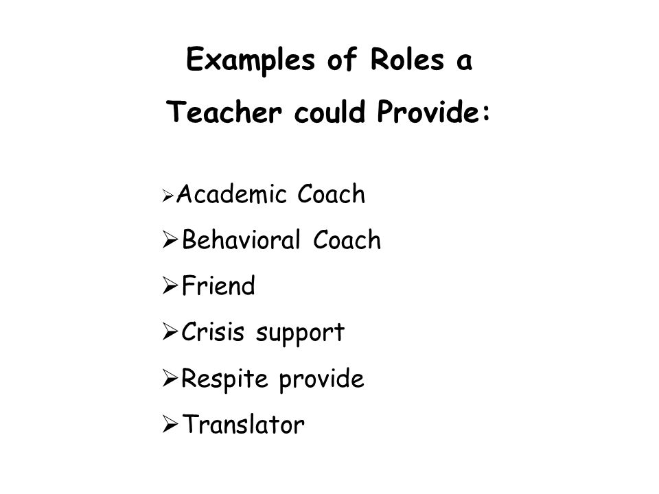 Teacher could Provide: