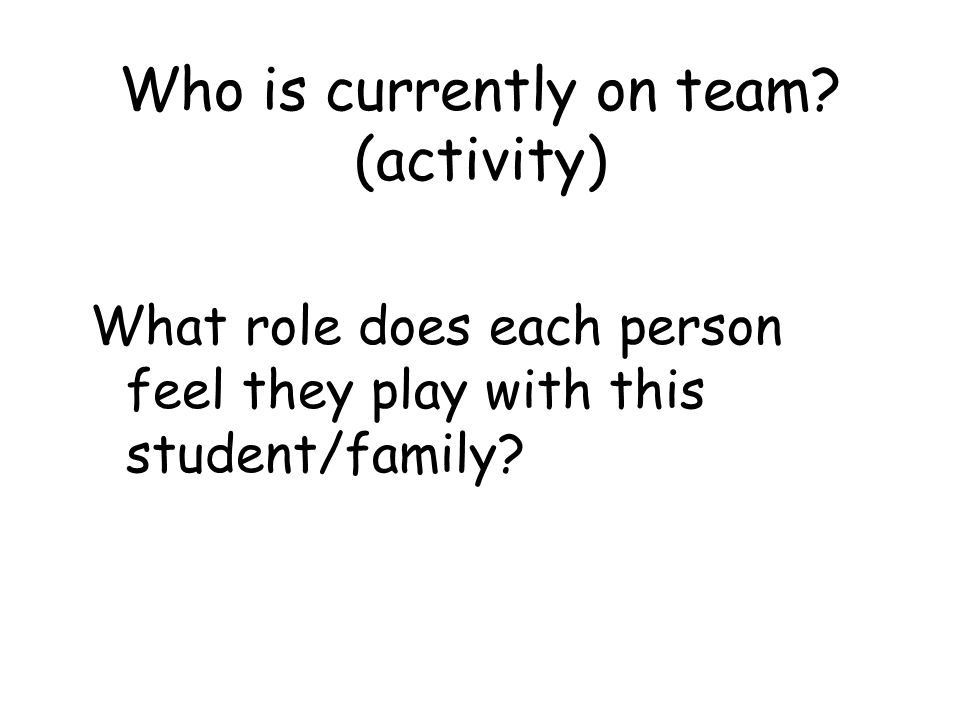 Who is currently on team (activity)
