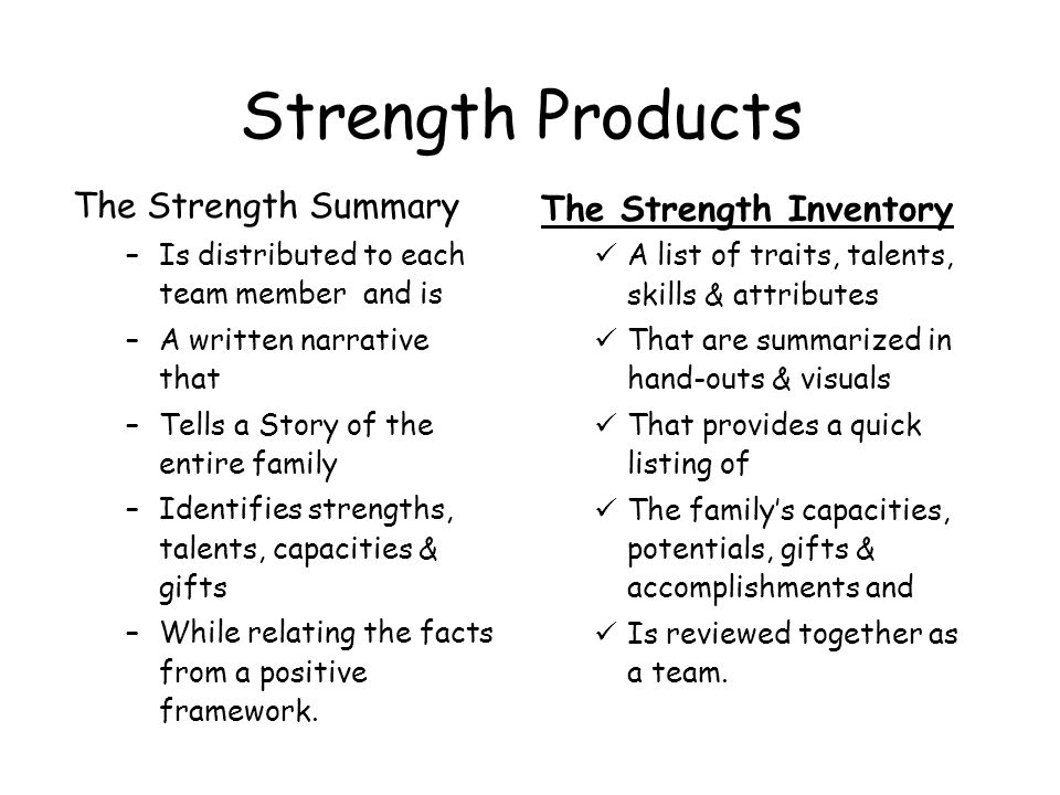 Strength Products The Strength Summary The Strength Inventory