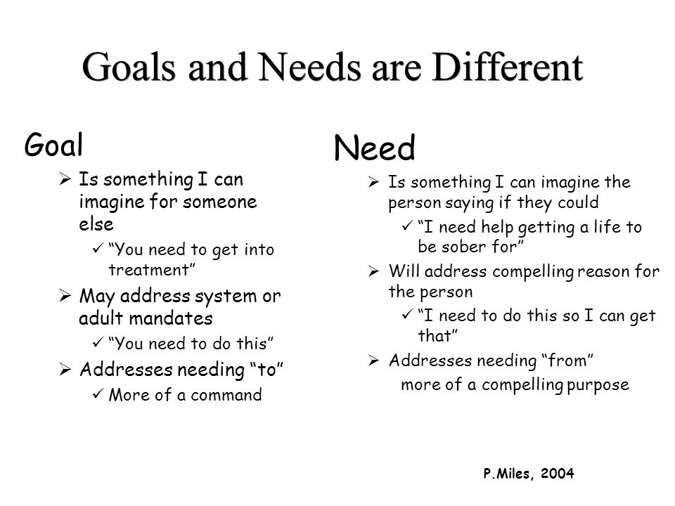 Goals and Needs are Different