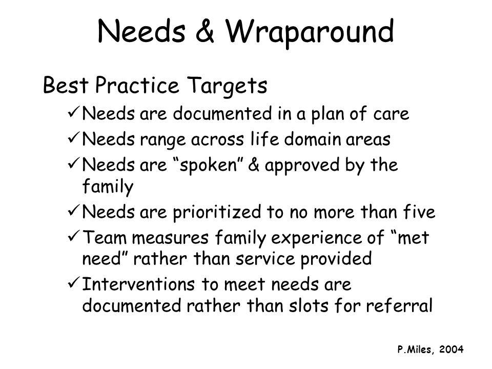 Needs & Wraparound Best Practice Targets