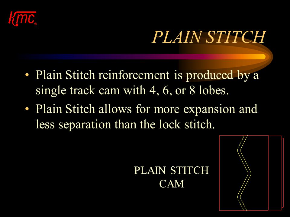PLAIN STITCH Plain Stitch reinforcement is produced by a single track cam with 4, 6, or 8 lobes.