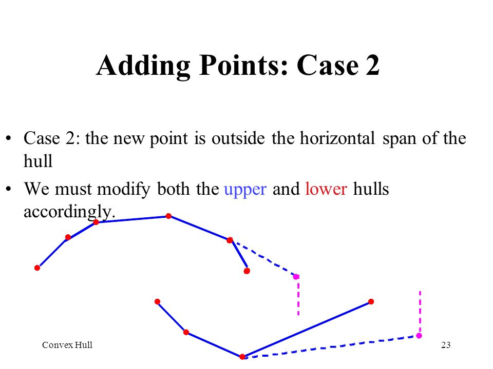 Adding Points: Case 2 Case 2: the new point is outside the horizontal span of the hull. We must modify both the upper and lower hulls accordingly.