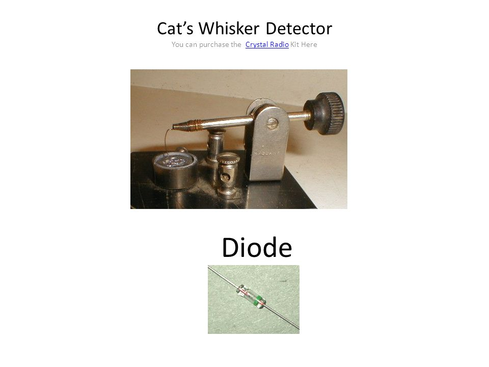 Cat's Whisker Detector You can purchase the Crystal Radio Kit Here
