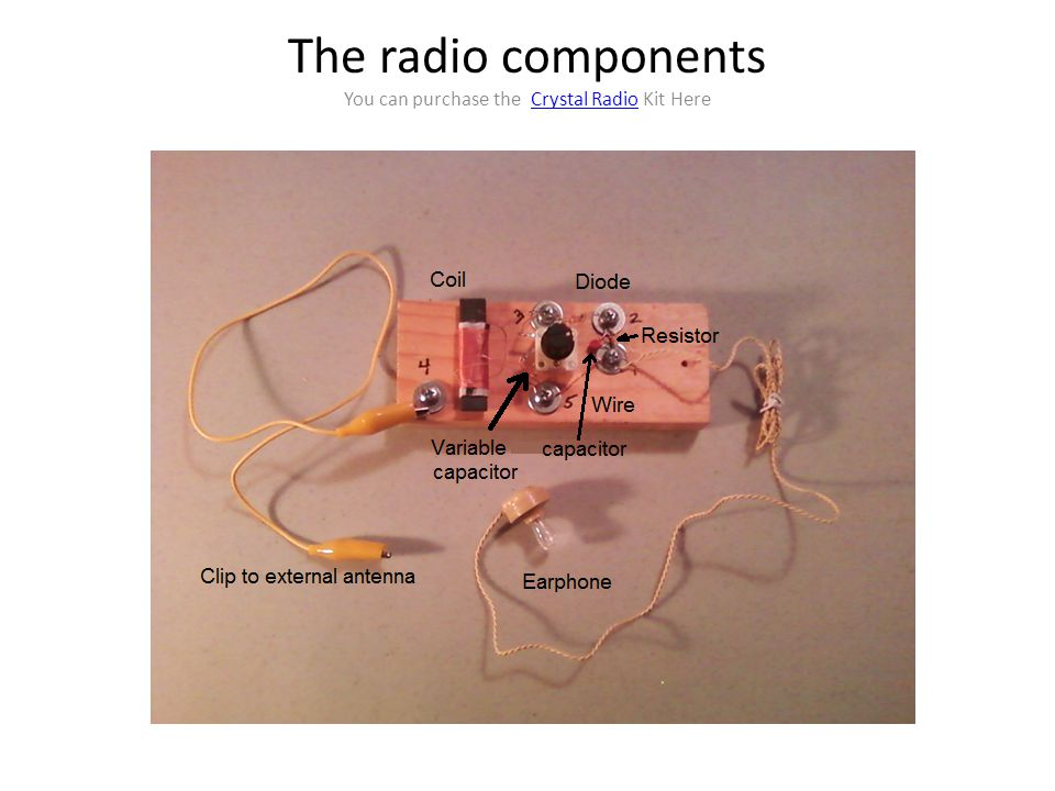 The radio components You can purchase the Crystal Radio Kit Here