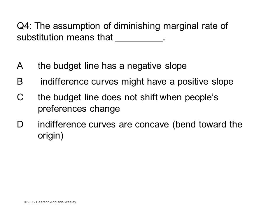 A the budget line has a negative slope