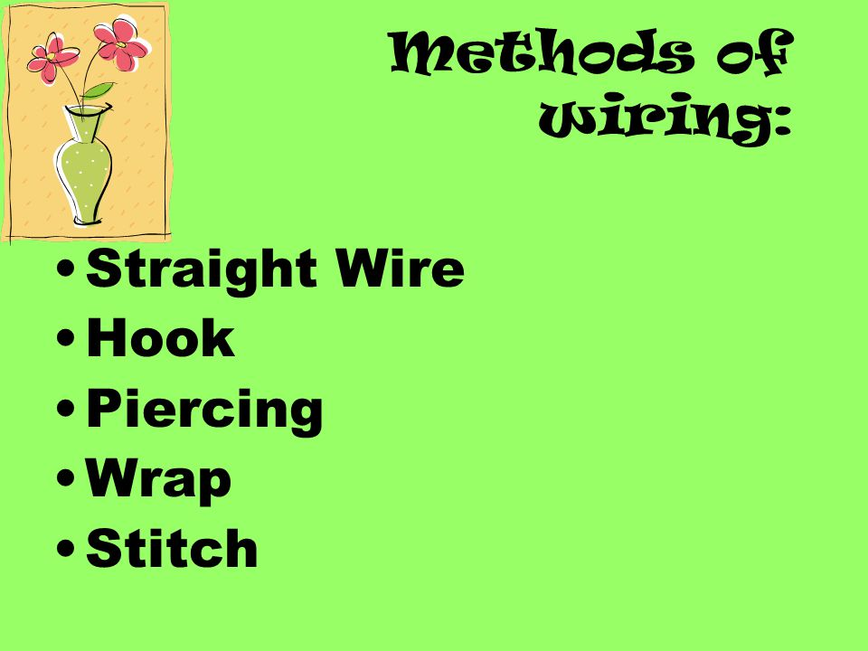 Methods of wiring: Straight Wire Hook Piercing Wrap Stitch