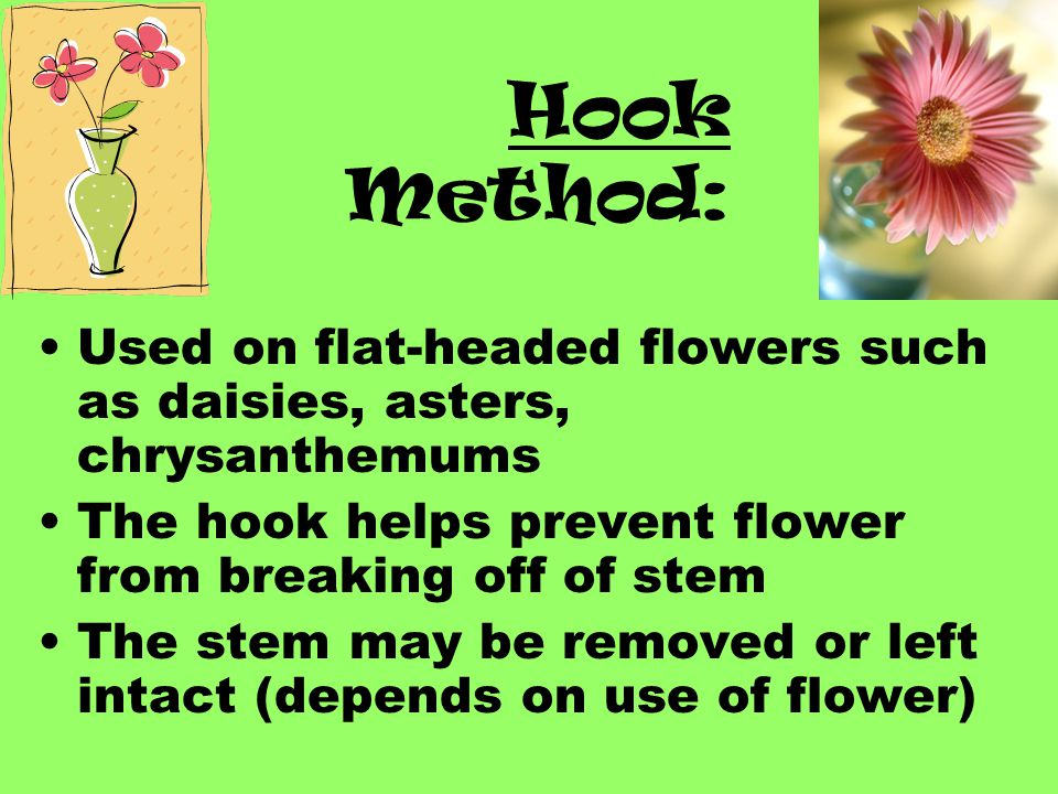 Hook Method: Used on flat-headed flowers such as daisies, asters, chrysanthemums. The hook helps prevent flower from breaking off of stem.