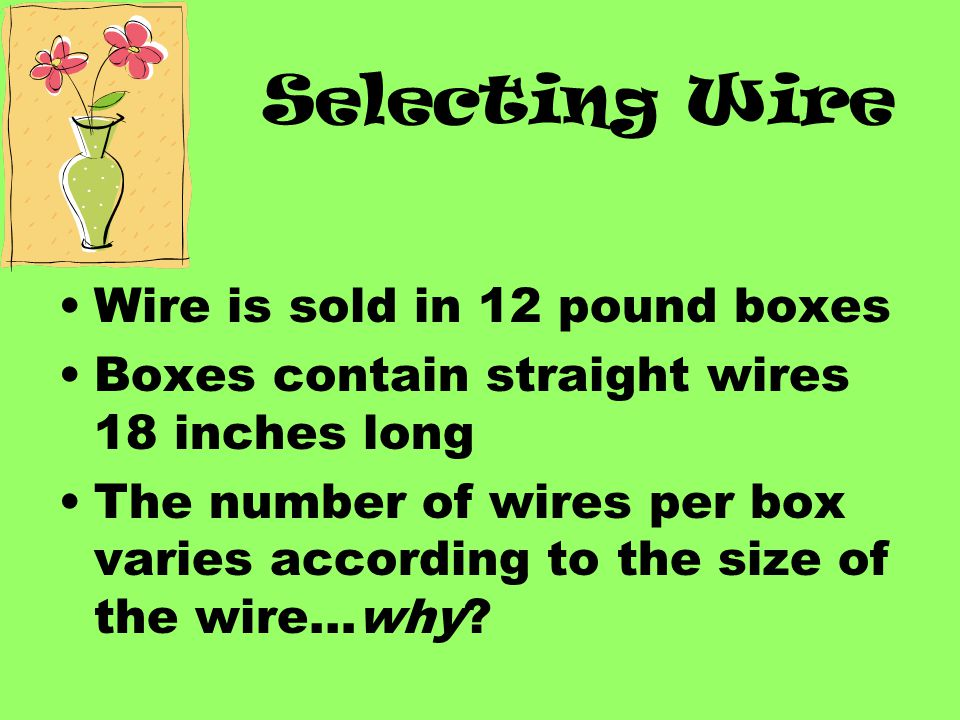 Selecting Wire Wire is sold in 12 pound boxes