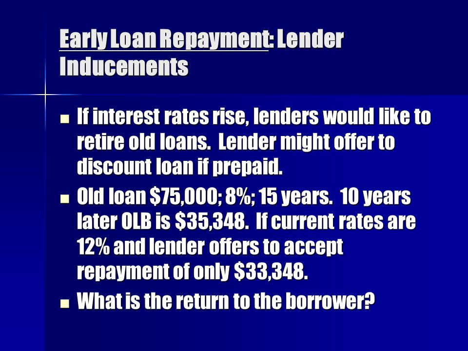 Early Loan Repayment: Lender Inducements