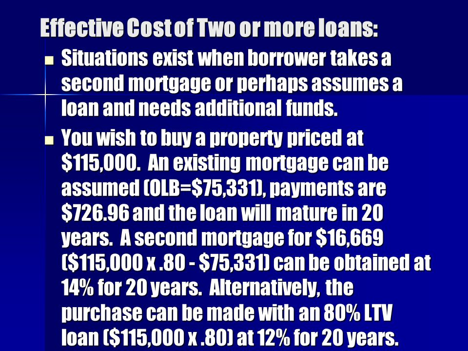 Effective Cost of Two or more loans: