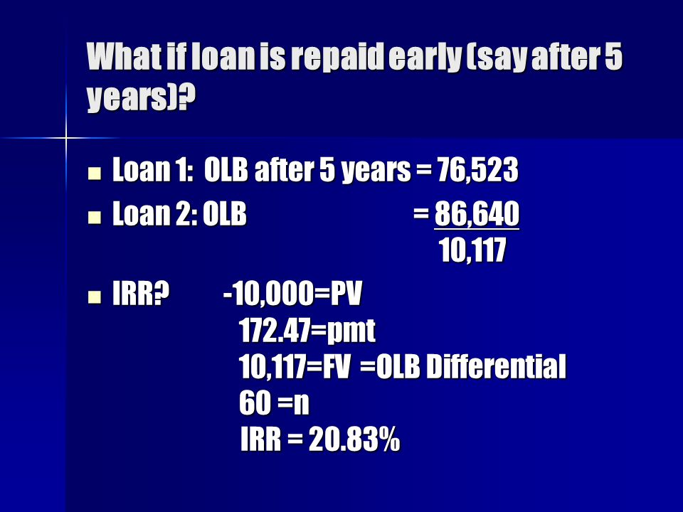 What if loan is repaid early (say after 5 years)