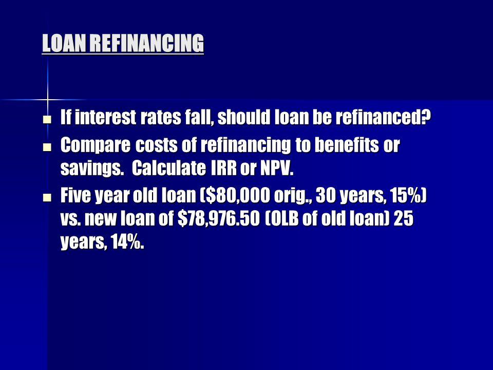 LOAN REFINANCING If interest rates fall, should loan be refinanced