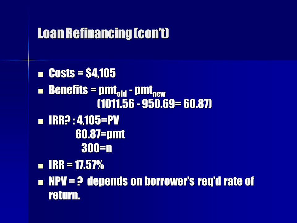 Loan Refinancing (con't)