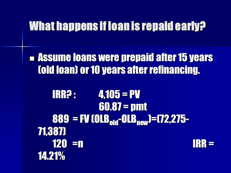What happens if loan is repaid early