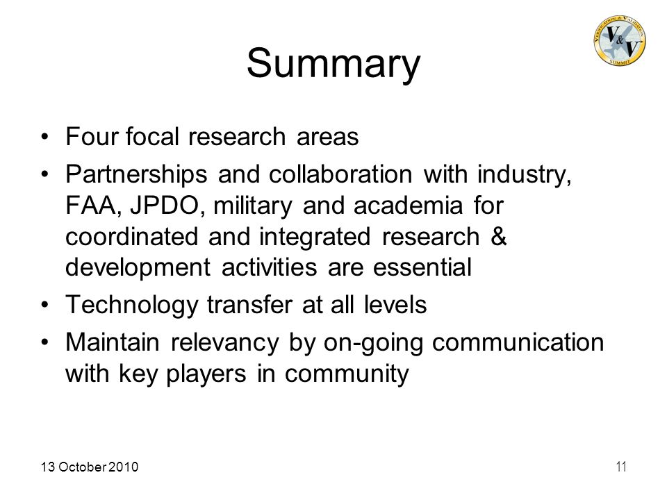 Summary Four focal research areas