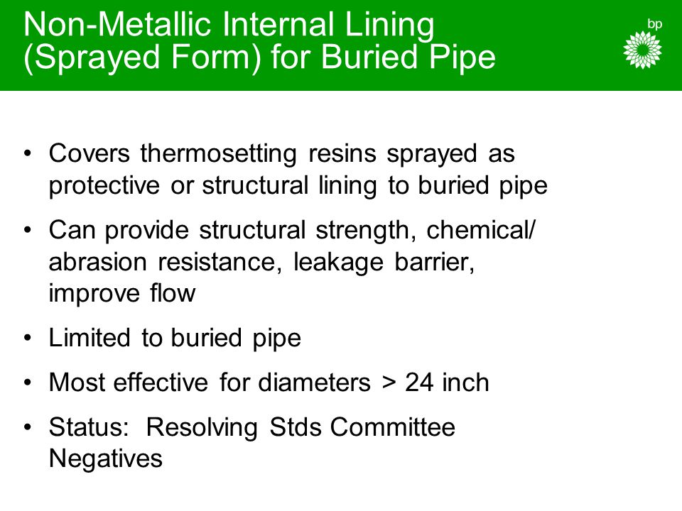 Non-Metallic Internal Lining (Sprayed Form) for Buried Pipe